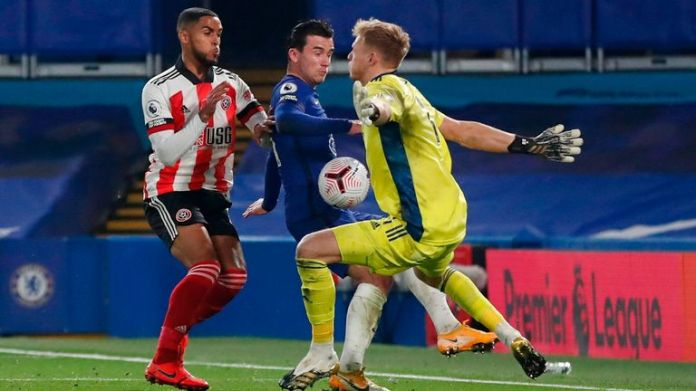 Ben Chilwell scores past Aaron Ramsdale in Chelsea's win over Sheffield United