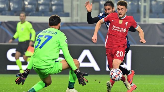 Diogo Jota scores for Liverpool against Atalanta in the Champions League