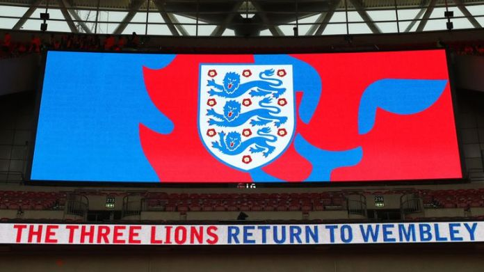 England logo on big screen at Wembley