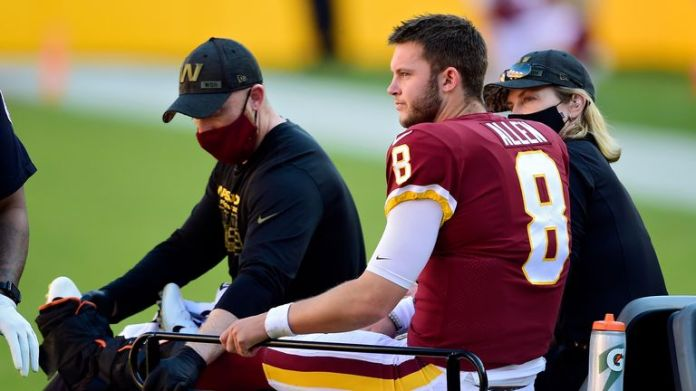 Kyle Allen was carted off after suffering a dislocation and small fracture of his ankle