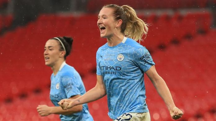 Sam Mewis celebrates her opening goal for Man City in the Women's FA Cup final