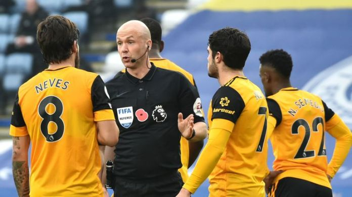 Wolves' players fumed at Anthony Taylor after his decision to award a penalty against Max Kilman in their 1-0 defeat at Leicester