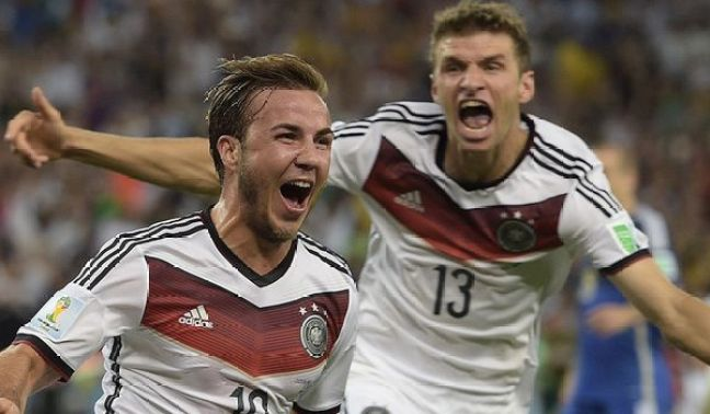 It was a fitting goal to win the World Cup. Gotze's 113th-minute strike owed much to the industry of Andre Schurrle on the left, but his composed finish was unrivalled on a night of missed chances. A beautiful take on his chest and a fine volley past the despairing Sergio Romero, all in one fluid movement. He was as relaxed as a player stroking home a simple finish on the training pitch. Photo via SkySports.