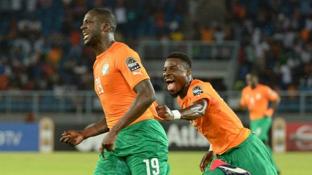 Toure celebrates his goal in the AFCON semi-final