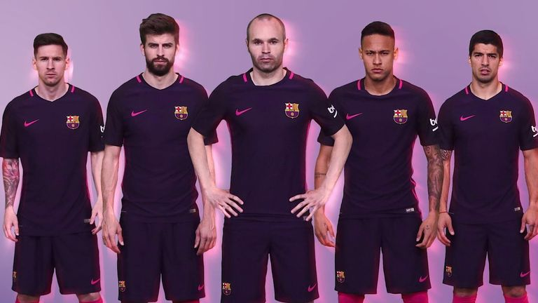 (Left-right) Lionel Messi, Gerard Pique, Andres Iniesta, Neymar and Luis Suarez model Barcelona's new away kit (Images courtesy of FC Barcelona and Nike, Inc.)