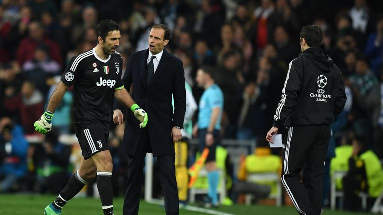 R Madrid 1   3 Juventus   Match Report   Highlights Buffon and Max Allegri after the goalkeeper was dismissed