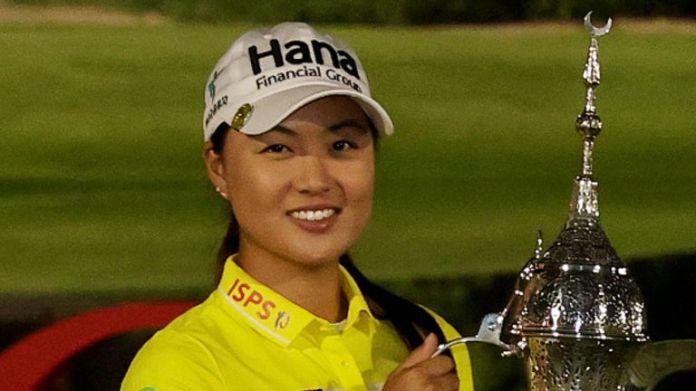 Minjee Lee celebrated play-off victory at the OMEGA Dubai Moonlight Classic