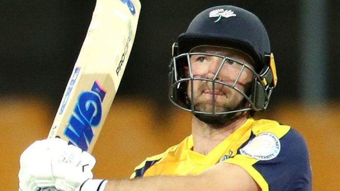 Adam Lyth hit three sixes and four fours in his half-century