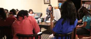 Bible study with youth group from orphanage