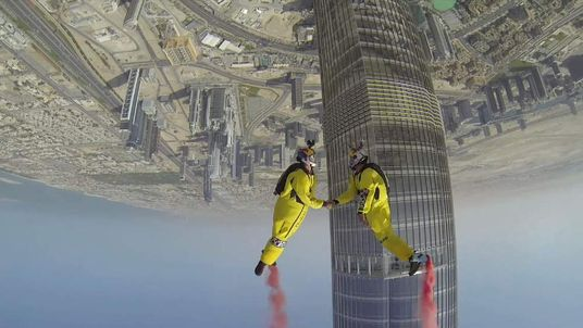 Base jump world record set in Dubai Pic: Skydive Dubai