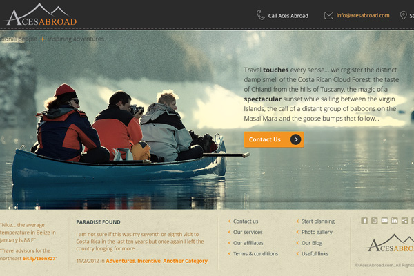 Aces Abroad Travel Website - website design