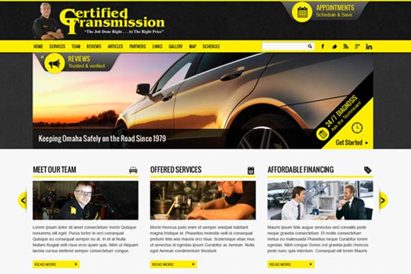 Certified Transmission website design - website design