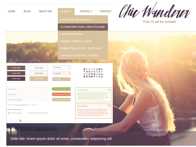 Chic Wanderer – free UI set for nomads