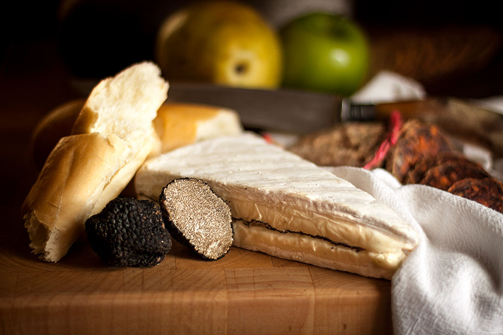 Truffled Brie with fresh summer truffles