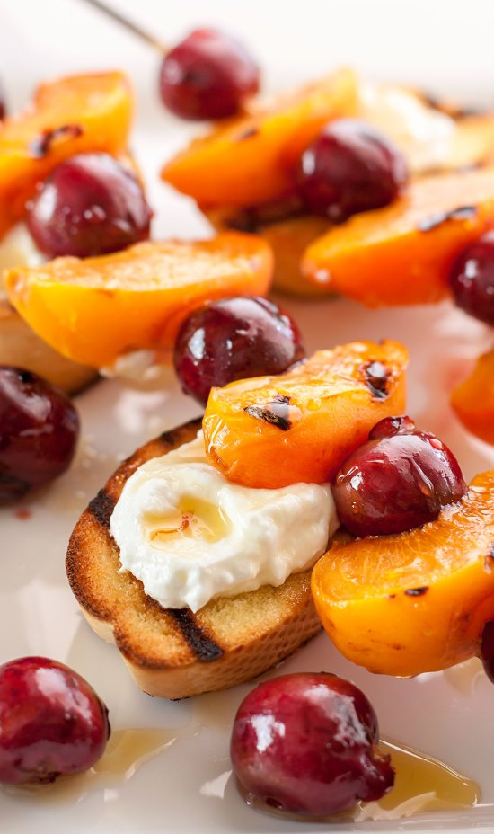 Grilled Sweet Cherry and Apricot Kebabs with Saffron Honey