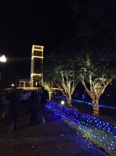 Alumni Plaza in Lights