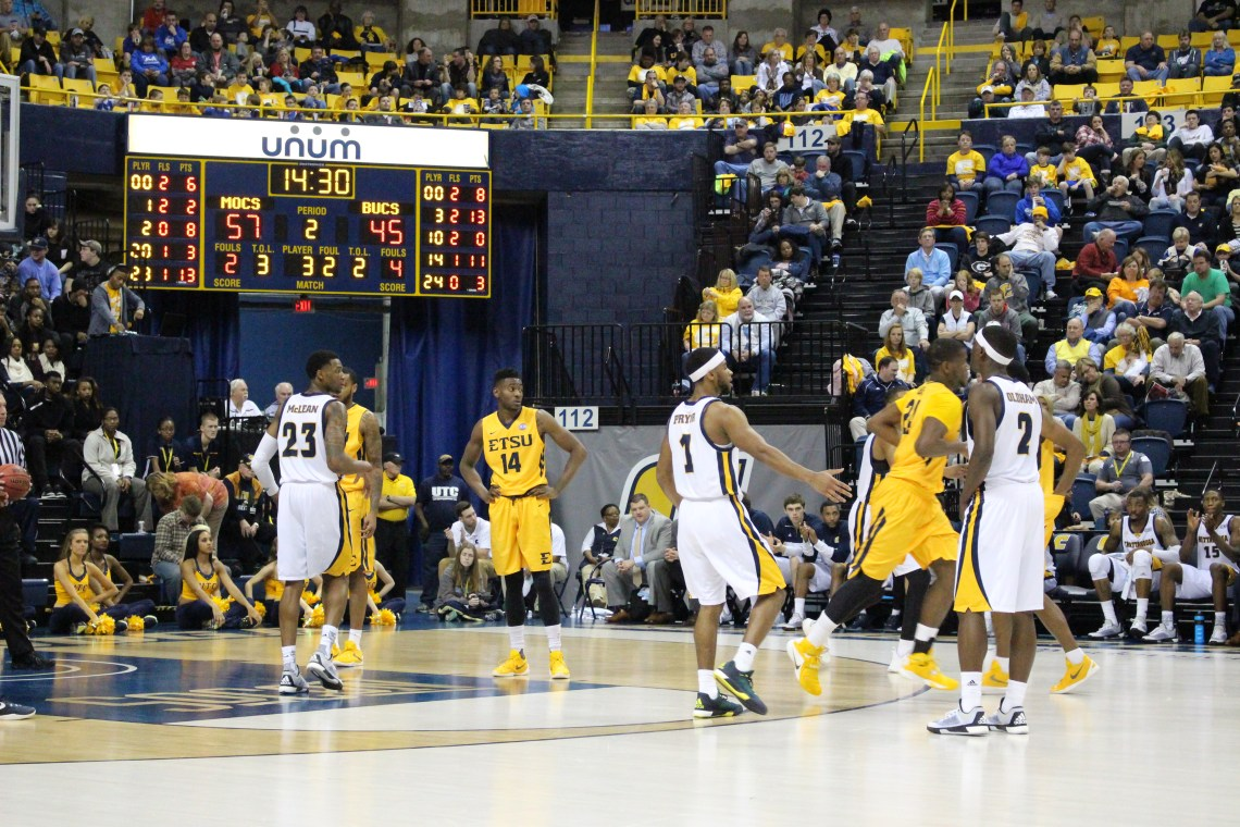 The East Tennessee State men's basketball team at Chattanooga on Jan. 16 (Photography by: Garrett Tumlin)