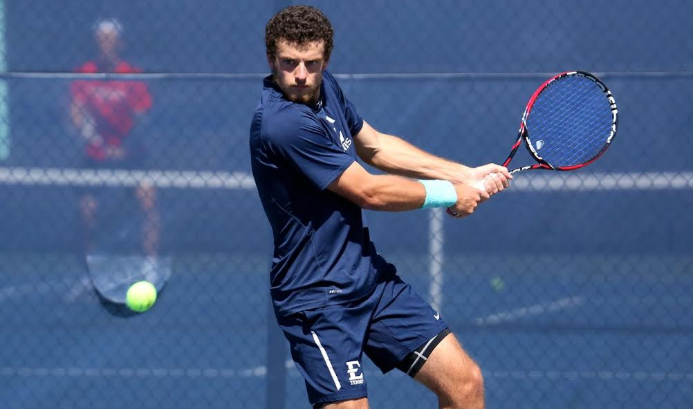 David Biosca, Jr., playing in his singles match against conference rival Samford in the Spring 2015 season for the win.