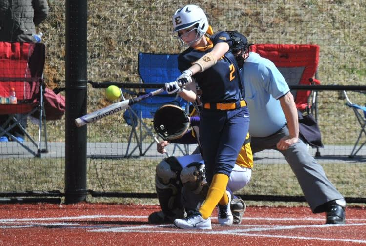 Kelsey Chernak, Jr., hitting in a match-up against Tennessee Tech for the 2014-2015 season.