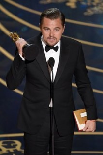 Leonardo DiCaprio accepts his first Oscar after a total of six nominations. (Contributed)