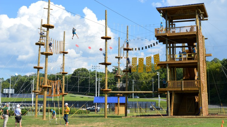 The university's new adventure course during the opening ceremony last week. The course is located near the Basler Center for Physical Activity on the ETSU campus. (Photograph by Alexia Stewart/East Tennessean)
