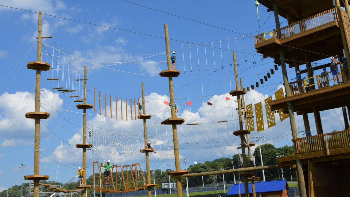 The new aerial adventure course during its grand opening on Tuesday. (Photo by Alexia Stewart/East Tennessean)