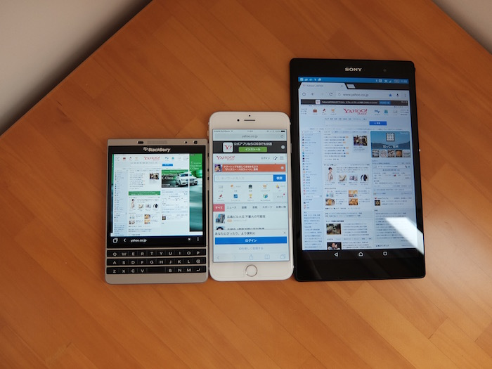 iPhone 6 Plus、Z3 Tablet Compactと比較