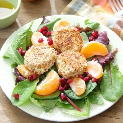 Best Almond Crusted Goat Cheese Salad 4 Square Goat Cheese Salad Dressing Goat Cheese Salad Apples Walnuts