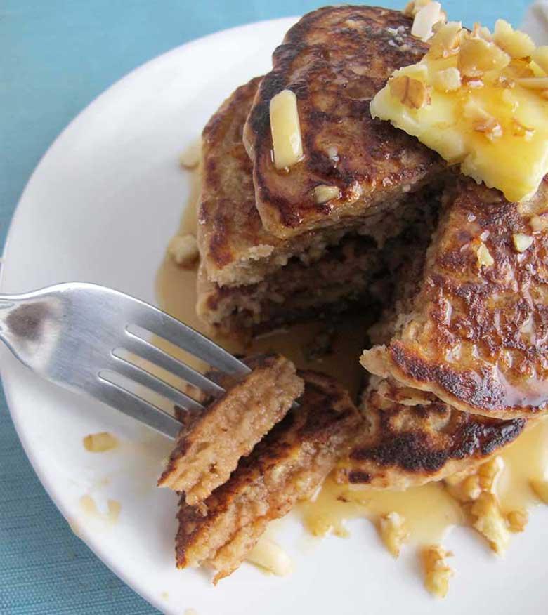 Honey-Nut Whole Grain Pancakes | eatatkates.com - Pancakes filled with ...