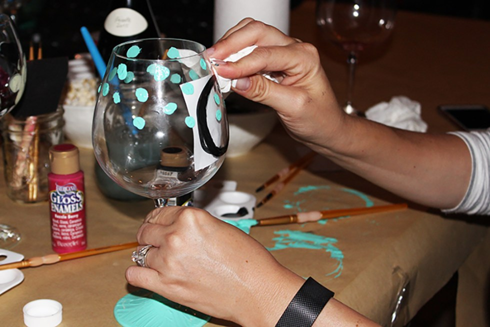 DIY painted wine glasses with initials. Super easy craft!