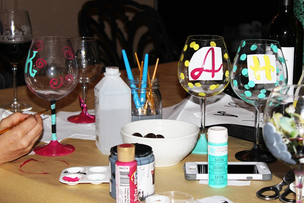 Paint your own wine glasses for a girls night