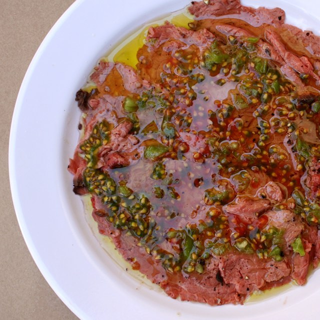 beef carpaccio from port said Israel restaurant tlv tomato seeds