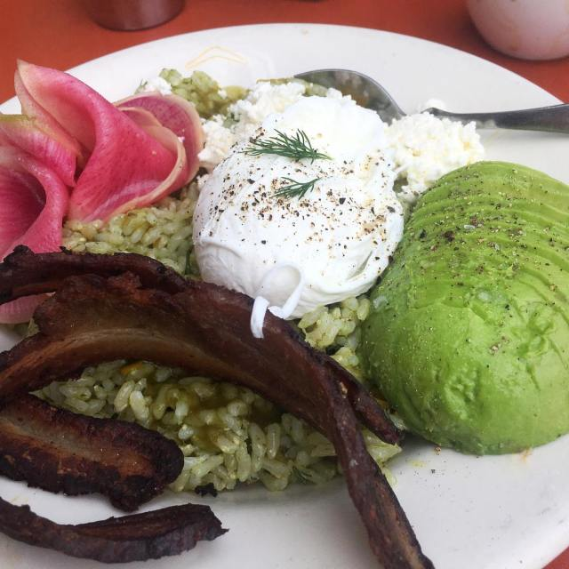 Sorel pesto w brown rice bacon avocado radish poachedegg andhellip