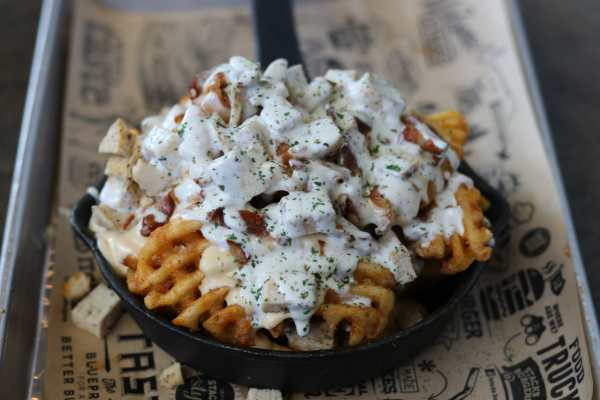 Loaded Skillet Fries Chicken, Bacon, Ranch, Queso Blanco