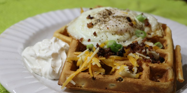 Savory Cheese and Bacon Waffles