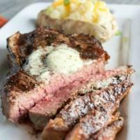 Strip Steak- with compound butter