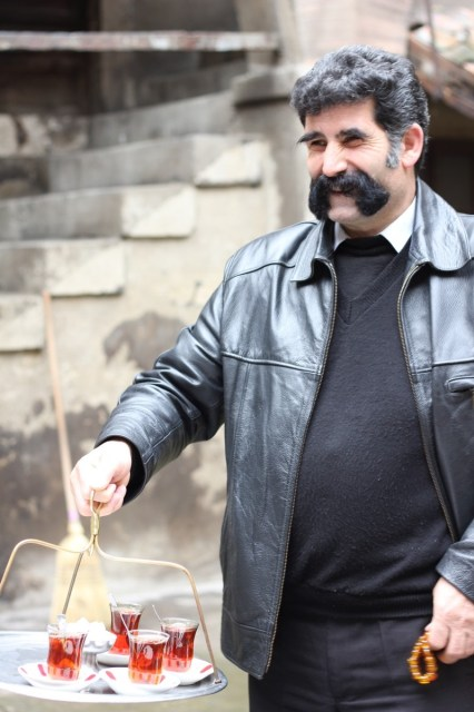 Time for tea! This guy has been growing his moustache for 4 years. Isn't it awesome?!