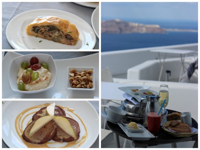 Room service breakfast at Grace Santorini