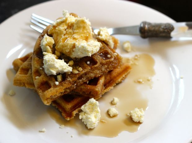 Spelt and Almond Waffles with Lemon Ricotta and Maple Syrup