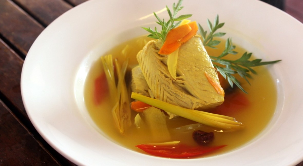 Tuna cooked in Aromatics, a local fish soup from the sea gypsy culture in Sabah, Malaysian Borneo
