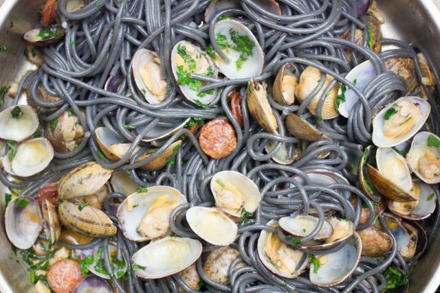 Spaghetti with Clams and Chorizo