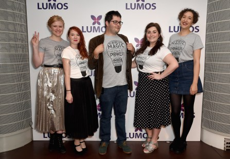 LONDON, ENGLAND - SEPTEMBER 18: Bloggers Katy English, Ashlegh O'Connell, Alex Shebar, Katie Brennan and Charlie Elliott supporting the Lumos launch of its 'Be the Light' T-shirt to raise funds for its work to help end the institutionalization of children around the world at The Hospital Club on September 18, 2016 in London, England. (Photo by David M. Benett/Getty Images for Lumos)