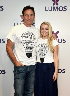 LONDON, ENGLAND - SEPTEMBER 18: Jason Isaacs and Evanna Lynch supporting the Lumos launch of its 'Be the Light' T-shirt to raise funds for its work to help end the institutionalization of children around the world at The Hospital Club on September 18, 2016 in London, England. (Photo by David M. Benett/Getty Images for Lumos)