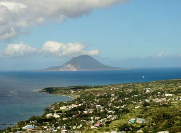 view of St. Eustatius in the distance