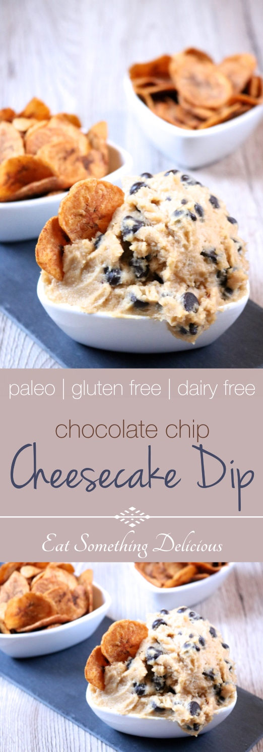 Chocolate Chip Cheesecake Dip | A dairy free, paleo version of chocolate chip cheesecake dip with cinnamon dusted plantain chips for dipping in place of graham crackers. | eatsomethingdelicious.com