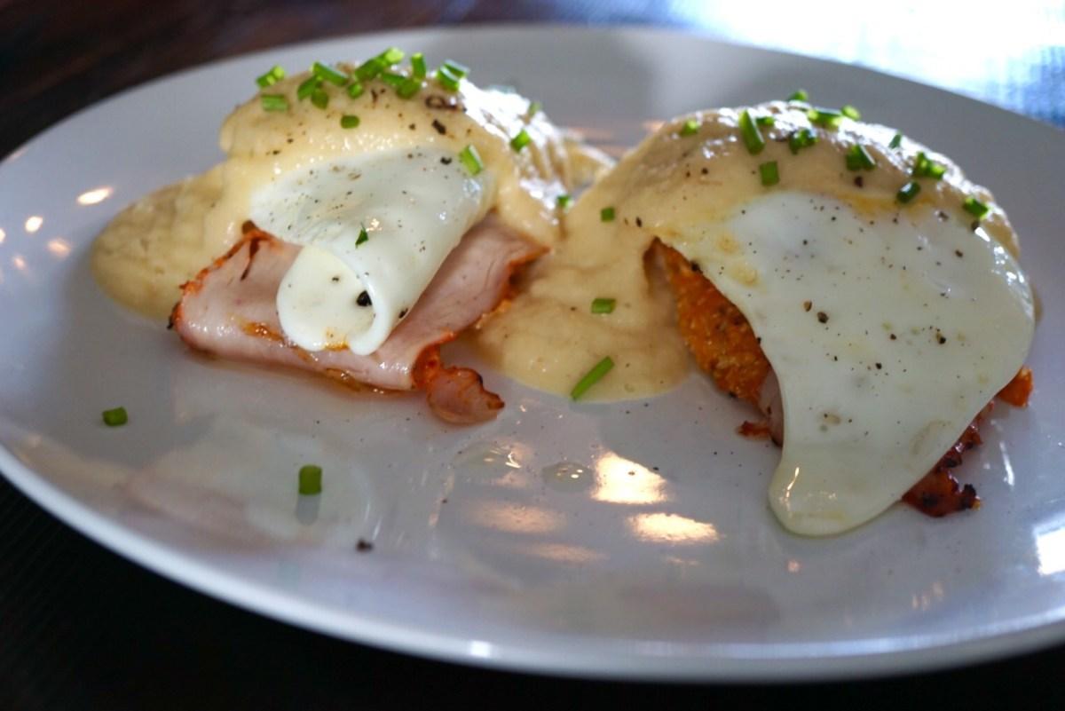 The NON Benedict - with creamy cauliflower sauce and sweet potato cakes