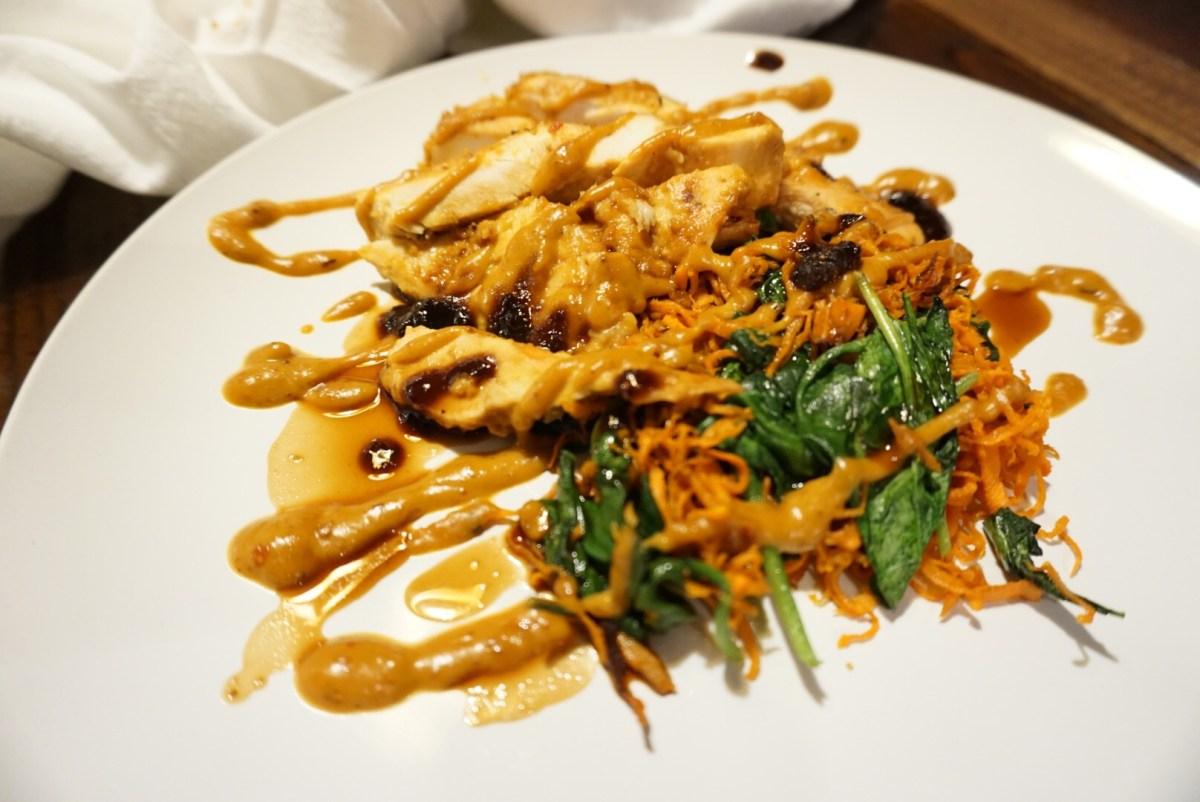 Thai Peanut Chicken 'Pasta' with Ginger Fig Sauce