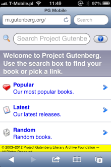 Project Gutenberg mobile site