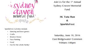 Support the Sydney Craven Memorial Fund, SparkleFest, June 18th