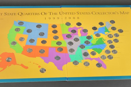 first state quarters of the united states collector's map